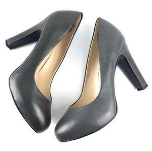 Nine West Soboldo Gray Leather Pump Heels